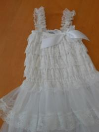 Flower Girl Dress- White Lace Three Tier First Communion ...