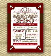 Backyard BBQ Wedding Shower Invitation, Rustic Country ...