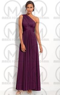 Mor Dn - One Shoulder Purple Bridesmaid Dresses ...