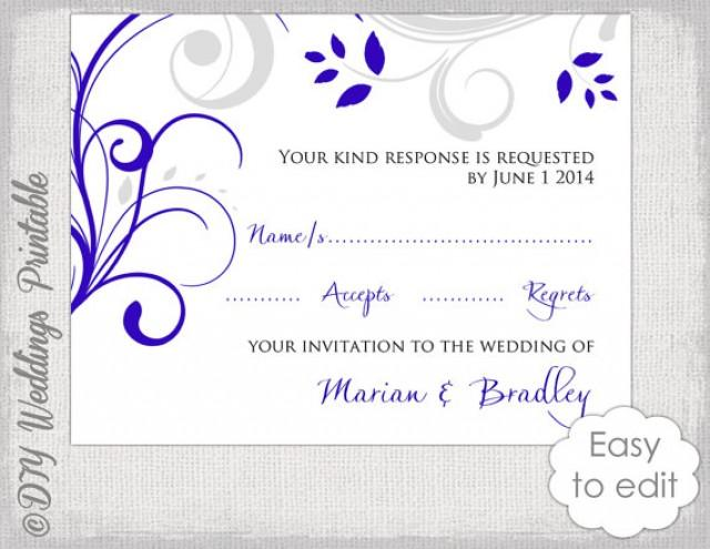 Response Card Template DIY Royal Blue  Silver Gray \ - free printable wedding rsvp cards