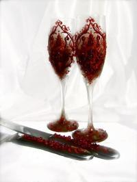 Valentines Wedding Cake Serving Set With Blood Red Damask ...