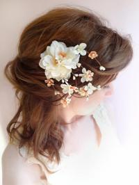 Peach Wedding Hair Clip, Bridal Flower Headpiece, Ivory ...