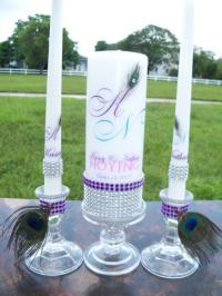Purple Peacock.............Unity Candle And Holder Set ...