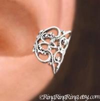 C-080, Lace Filigree Ear Cuffs, Sterling Silver Earrings ...