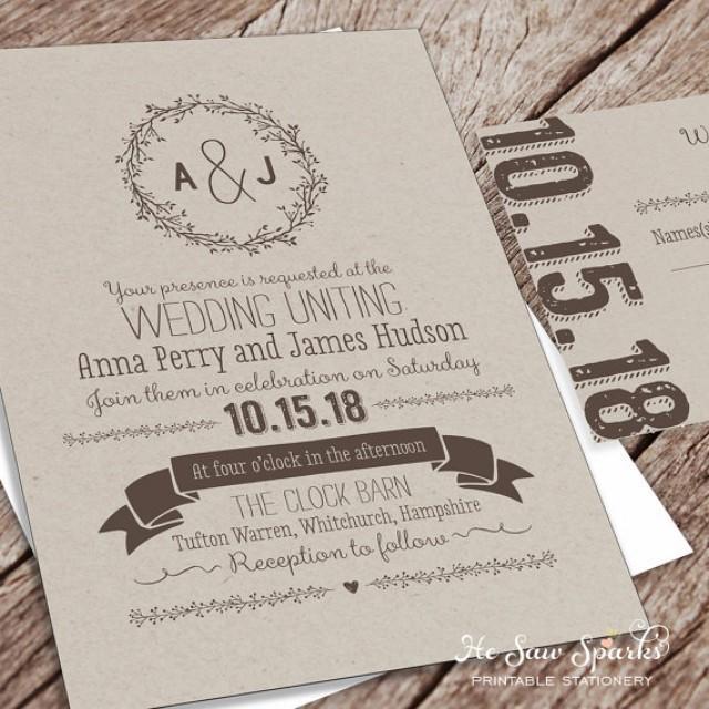 Printable Wedding Invitation Package Kraft 2346468