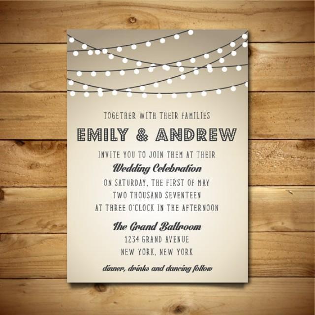 Printable Vintage Style Wedding Invitation Template - String Lights - microsoft word wedding invitation templates free