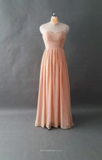 Charming Strapless Sweetheart Ruched Long Peach Chiffon ...