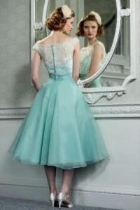 Retro Vintage Style Lace Organza Tea Length Wedding Prom