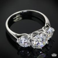 "Platinum ""Butterflies"" 3 Stone Engagement Ring (Setting"