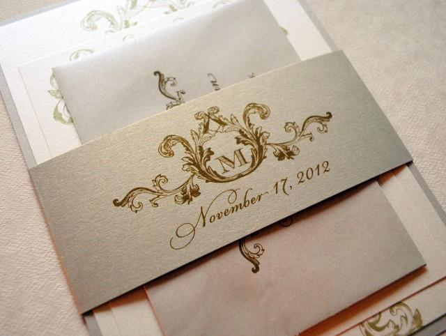 Ivory Champagne And Gold Wedding Invitations Elegant