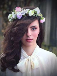 Flower Hair Wreath Purple Light Pink Green Wedding Bridal ...