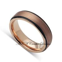 Mens TungstenBand, 6mm,Two Tone Black With Rose Gold, Mens ...