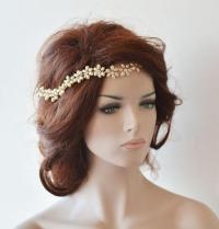Wedding Headband, Bridal Pearl Hair Vine, Bridal Headband