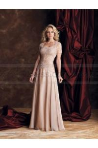 A-line Floor-length Strapless Chiffon Champagne Mother Of ...