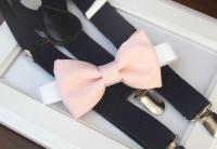 Light Pink Bow-tie & Navy Elastic Suspender Set - Blush ...