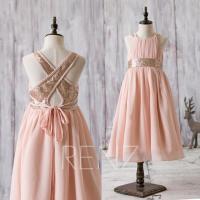 2016 Peach Junior Bridesmaid Dress, Rose Gold Sequin ...