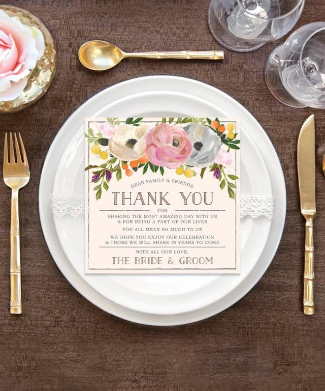 Wedding Thank You Place Card