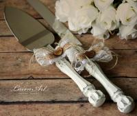 Rustic Wedding Cake Server Set & Knife Cake Cutting Set