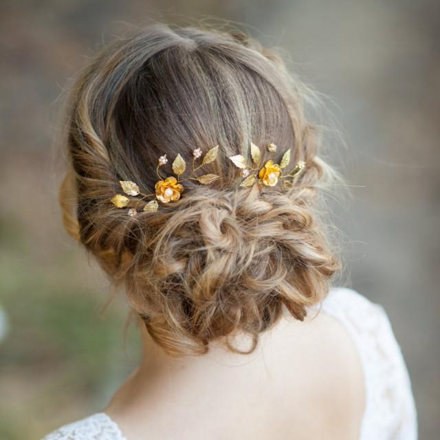 Gold Flowers Wedding Hair Pins Flower Bridal Hair Pins