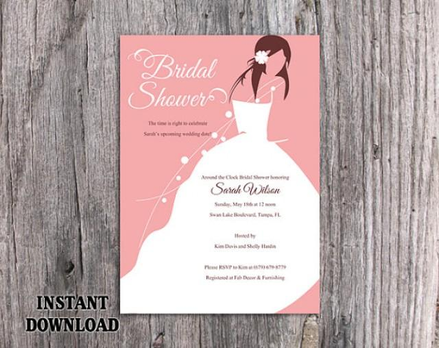 DIY Bridal Shower Invitation Template Editable Word File Instant