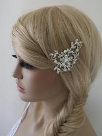 wedding hair slides free shipsilver plated off white ivory ...