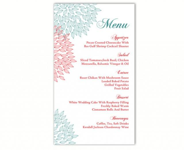 Wedding Menu Template DIY Menu Card Template Editable Text Word File - free menu templates for word
