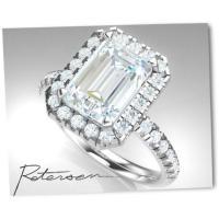 Emerald Cut Engagement Ring - Cubic Zirconia Halo ...
