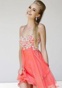 Coral Wedding - Coral Short Prom Dress #2012532 - Weddbook
