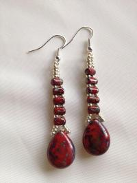 Red Wedding - Picasso Red Beaded Earrings #2037962 - Weddbook