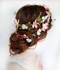 Rustic Wedding Hair Wreath, Woodland Headpiece, Pink ...