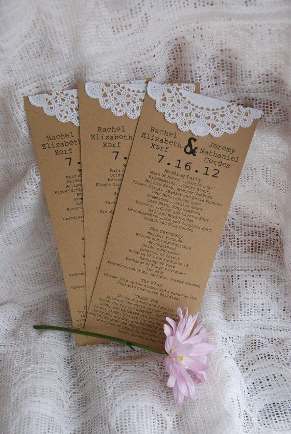 Custom Vintage Lace Doily Wedding Programs Or Menus- Save The Date
