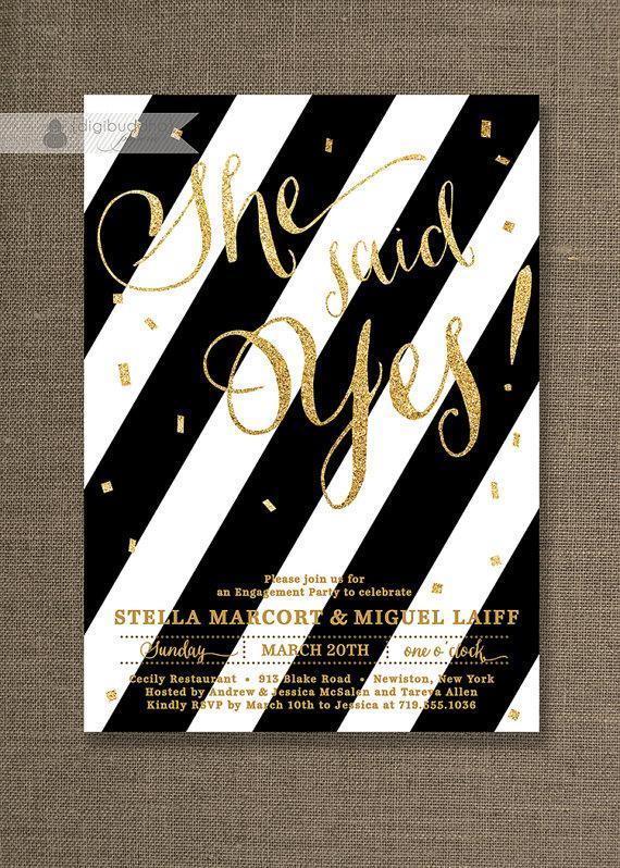 Gold Glitter Engagement Party Invitation Black White Stripes