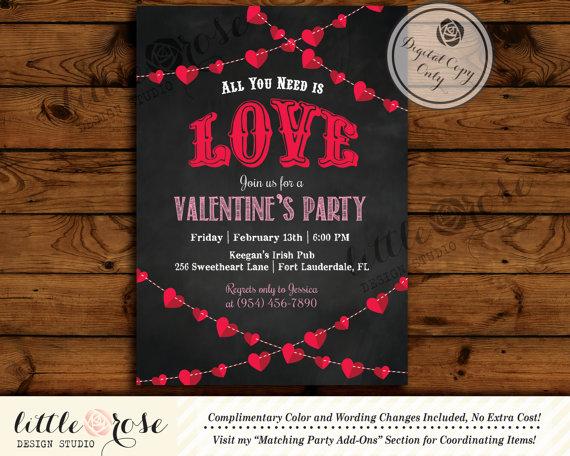 Valentine\u0027s Party Invitation - Valentine\u0027s Day Card - Mother\u0027s Day