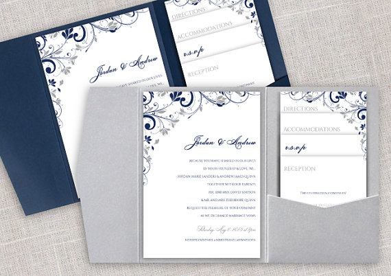 Pocket Wedding Invitation Template Set - Instant DOWNLOAD - EDITABLE