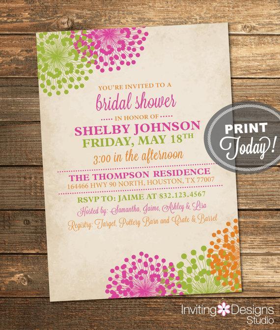 Wedding Shower Invitation, Vintage Bridal Shower, Floral, Pink