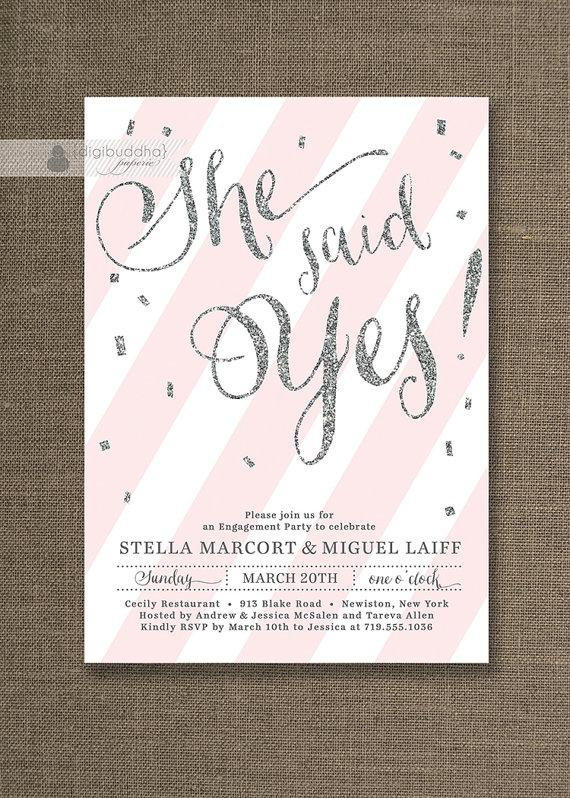 Silver Glitter Engagement Party Invitation She Said Yes Stripes Pink