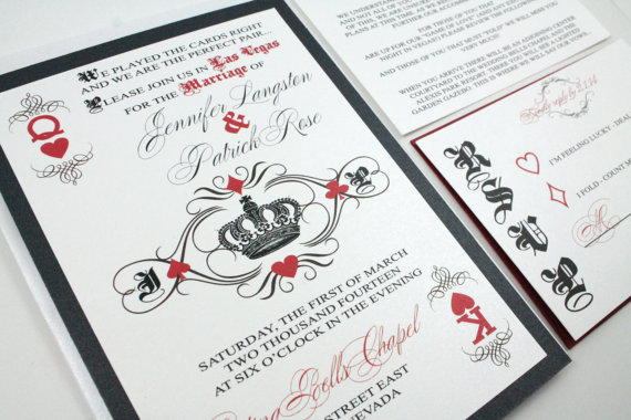Las Vegas Casino Playing Card Royal King And Queen Of Hearts Wedding