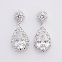Crystal Bridal Earrings Wedding Jewelry Posts Large Cubic ...