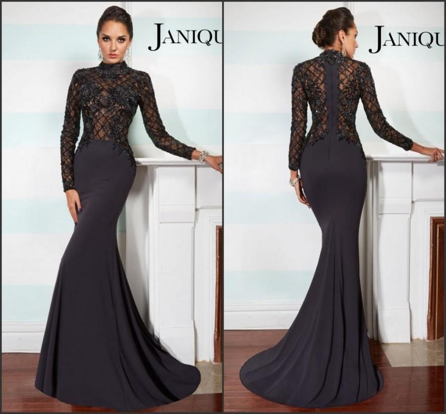 Fashion Long Sleeve Evening Dresses Satin Mermaid High