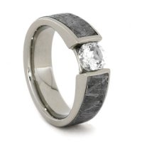 White Sapphire Gold Ring Inlaid W Meteorite, 14k White ...