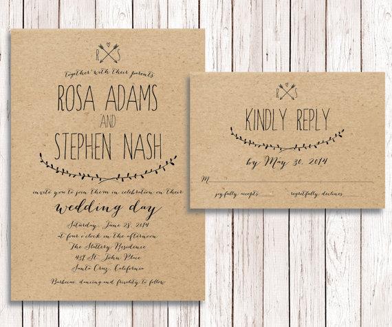 Rustic Wedding Invitation RSVP, Kraft Paper, Wedding Invitation RSVP