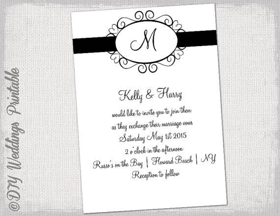 Wedding Invitation Template Black And White \
