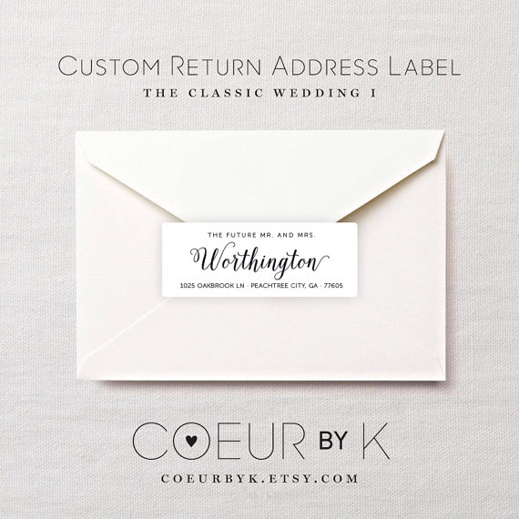 Custom Wedding Return Address Label - \