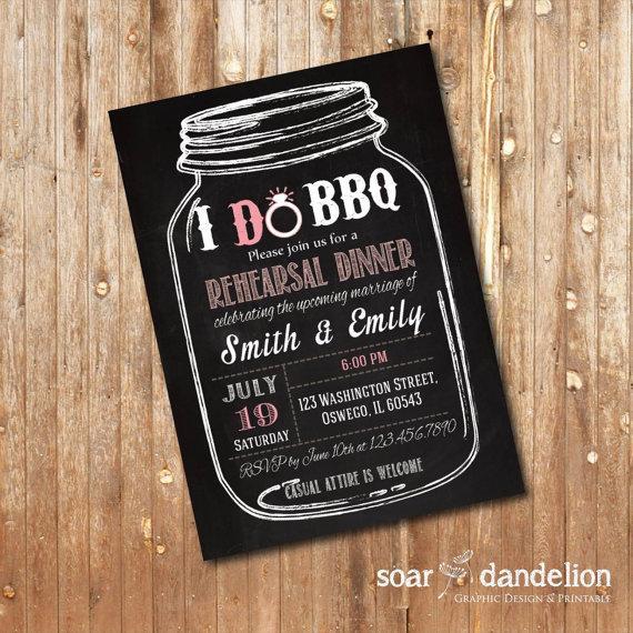 I Do BBQ Wedding Invitation Rehearsal Dinner Chalkboard - WI012