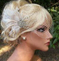 Wedding Bridal Ivory Hair Fascinator And French Net