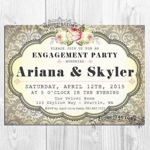 Gray Damask Engagement Party Invitation - Elegant Vintage Shabby