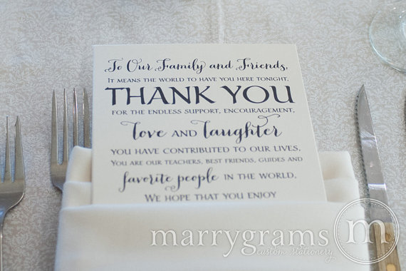 Wedding Reception Thank You Card To Your Guests - To Our Friends And