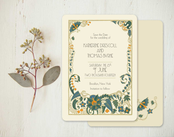 Art Deco Wedding Invitations Or Vintage Save The Dates - Jade