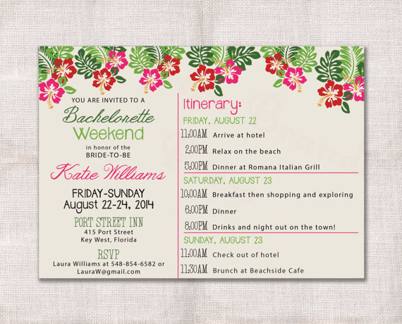 Bachelorette Party Weekend Invitation And Itinerary Custom Printable - birthday itinerary template