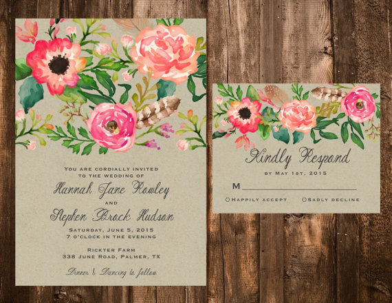 Invitation Watercolor Floral Wedding Invitation Set